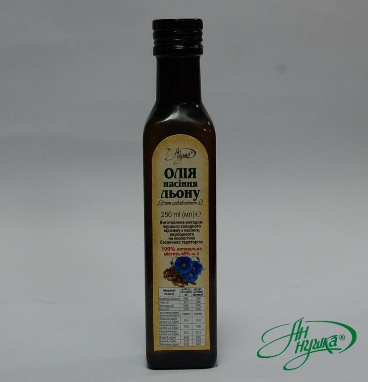 Flax seed oil, 250 ml, dark glass bottle, metal stopper with dispenser