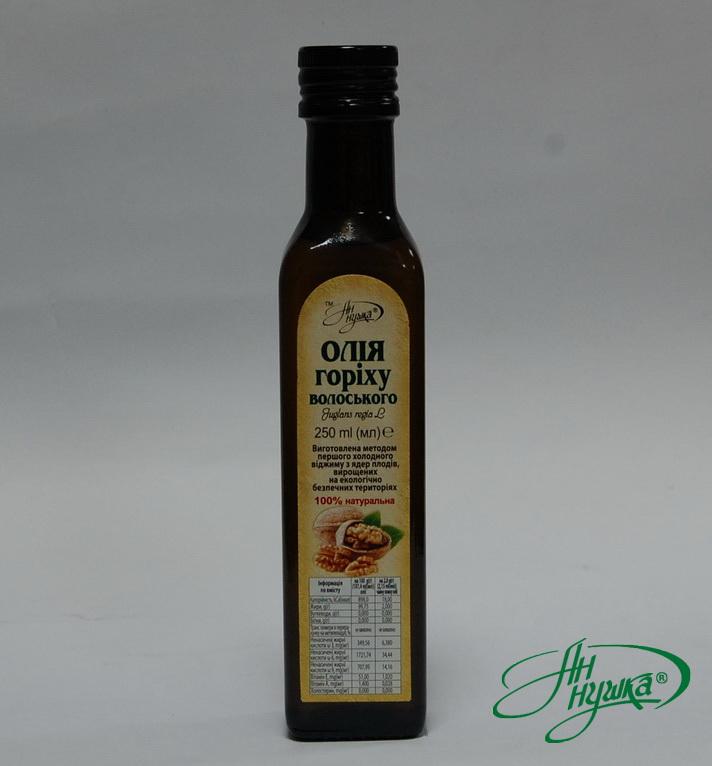 Walnut oil, 250 ml, dark glass bottle, metal stopper with dispenser