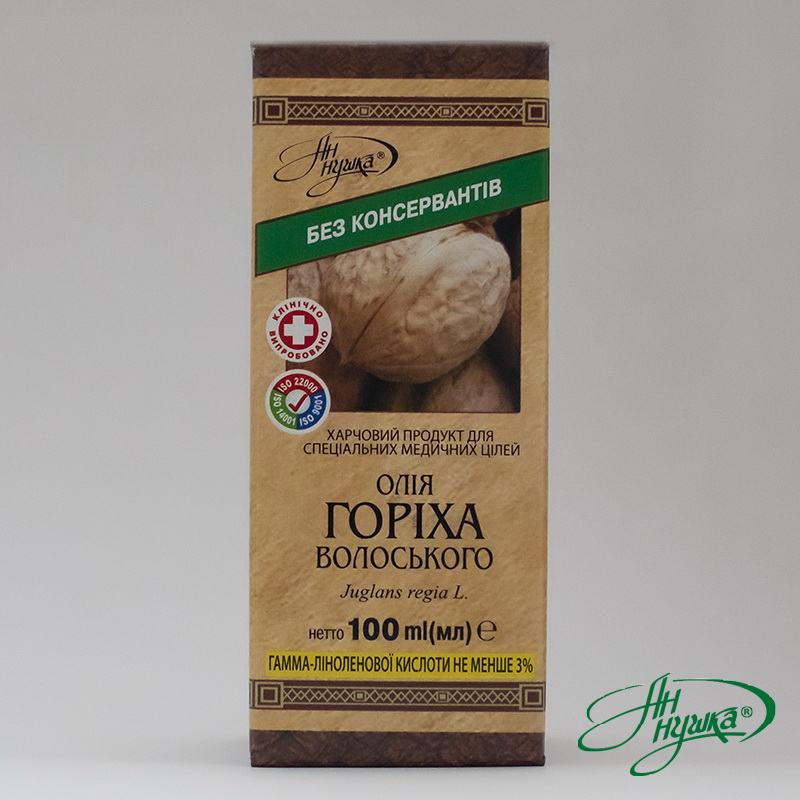 Oil of Walnut 100 ml gamma-linolenic acid content not less than 3%