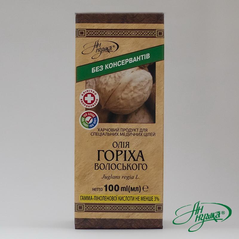Масло ореха грецкого, 100 мл, гамма-линоленовой кислоты не менее 3%