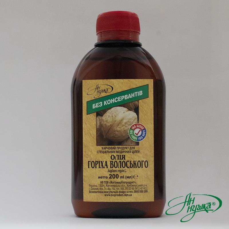 Масло ореха грецкого, 200мл, гамма-линоленовой кислоты не менее 3%