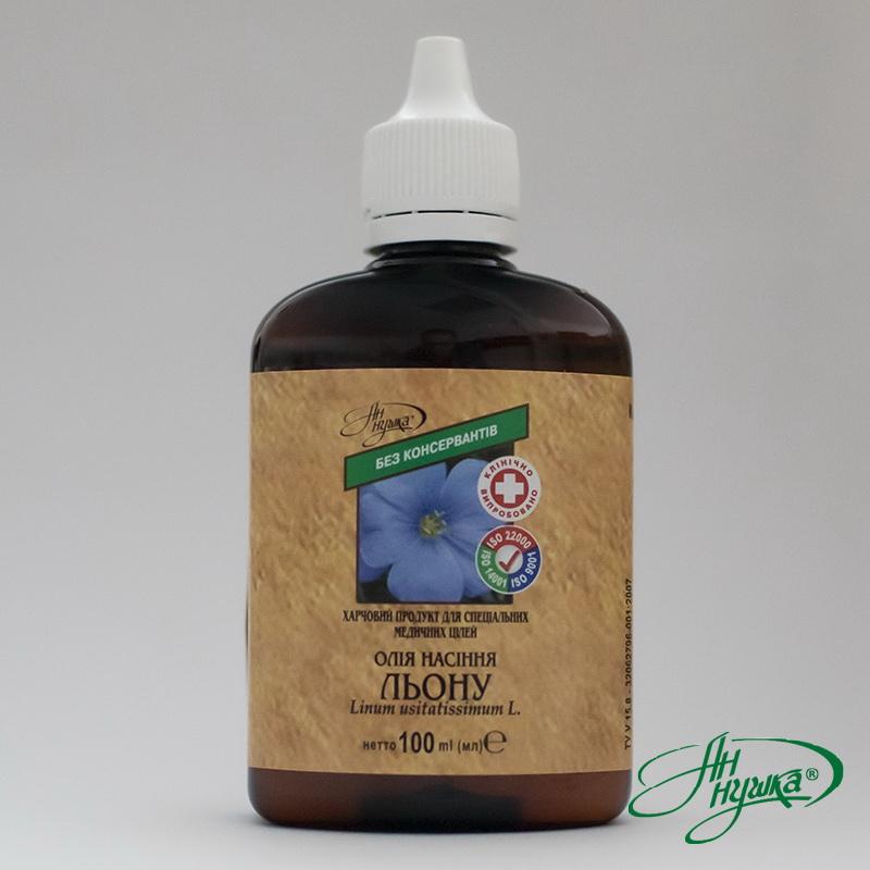 Олія насіння льону, 100 мл, сума поліненасичених жирних кислот Омега-3 не менше 45%