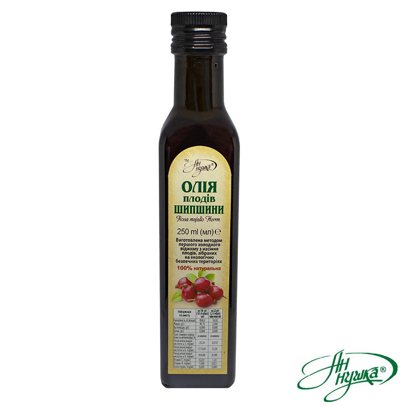 Dog-rose fruit oil, 250 ml, dark glass bottle, metal stopper with dispenser