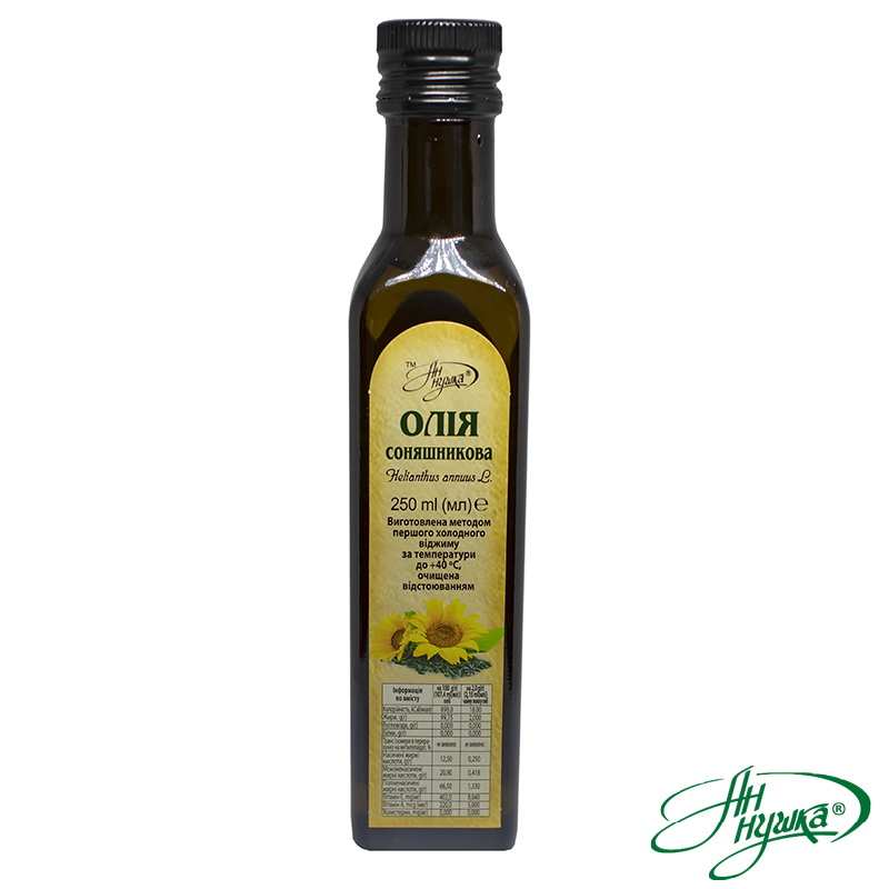 Sunflower oil of the first cold pressing, purified by sedimentation, packaged in 250 ml glass vials with dispenser
