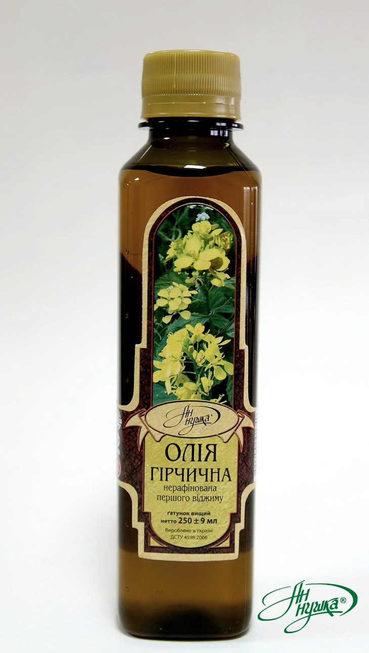 Mustard oil unrefined of the first extraction, netto 250 ± 9 ml