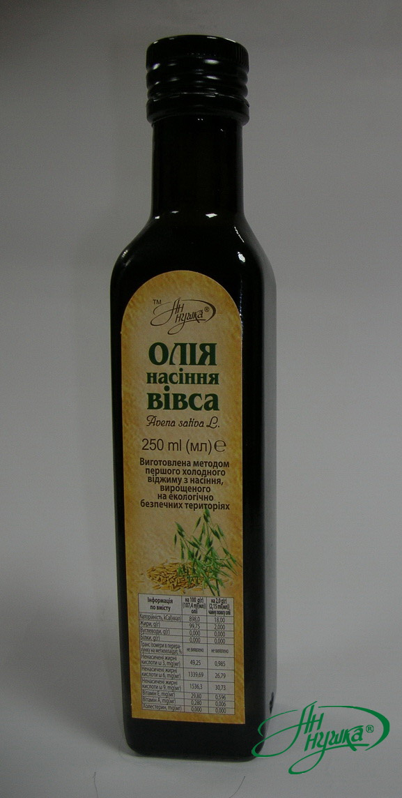 Oat seed oil, 250 ml, dark glass bottle, metal stopper with dispenser